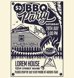 Invitation card bbq party on backyard vector