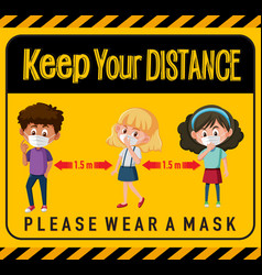 keep your distance or social distancing sign vector image