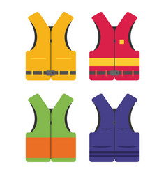 life safety jacket flat set vector image
