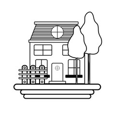 Line beutiful house with grid wood vector