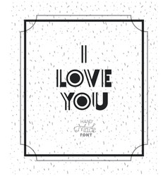 Love message with hand made font vector