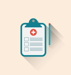 Medical record clipboard and pencil with long vector