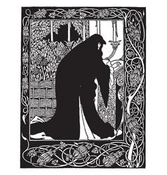Morte darthur original material vintage engraving vector