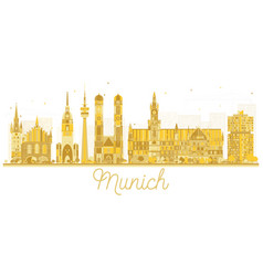 munich germany city skyline golden silhouette vector image