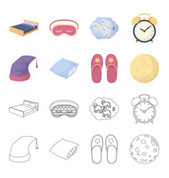 night cap pillow slippers moon rest and sleep vector image