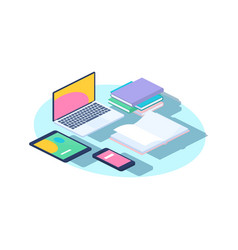 office furniture concept isometric laptop vector image