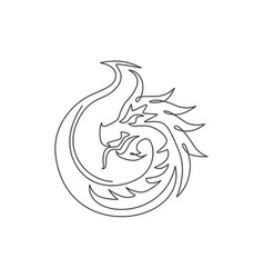 One single line drawing scary beast dragon vector