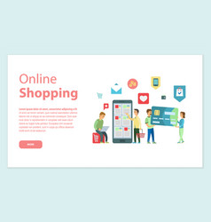 Online shopping website with info and clients vector