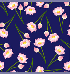 Pink indian lotus on navy blue background vector