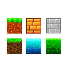Pixel art icons 2d textures for 8-bit games set vector