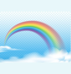 realistic rainbow on clouds vector image