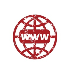 Red grunge www world logo vector image