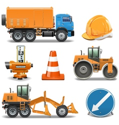 Road Construction Icons vector image