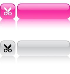 Scissors square button vector image