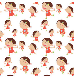 Seamless background with happy girl in red vector