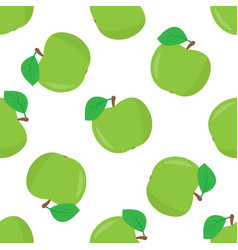 seamless pattern with a of green apples vector image