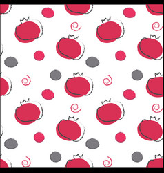 Seamless pomeganate pattern red and gray colors vector