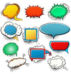 set bright comic speech bubbles halftone vector image