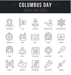 Set line icons columbus vector