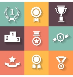 Set of white award success and victory icons with vector