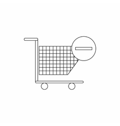 Shopping cart with minus icon thin line style vector image