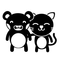 Silhouette bear and cat cute animals friends vector