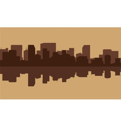 Silhouette of building in riverbank vector