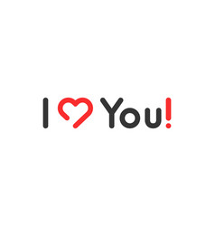 simple linear i love you logo vector image