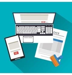 Smartphone laptop document vector