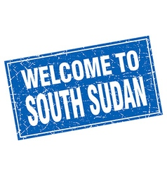 South Sudan blue square grunge welcome to stamp vector