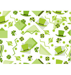 st patricks day seamless pattern with clover and vector image