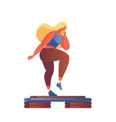 Step aerobics girl in flat modern style drawn vector