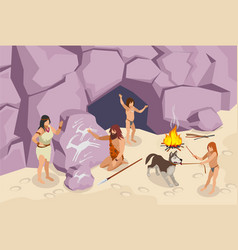 Stone age people background vector
