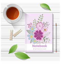 Summer scene with colorful notebook vector