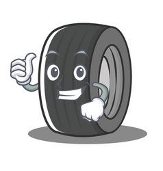 Thumbs up tire character cartoon style vector