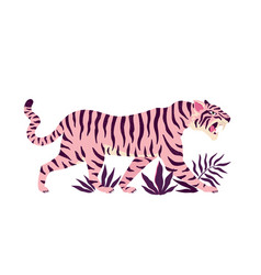 tiger and tropical leaves trendy vector image
