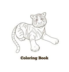 Tiger cartoon coloring book vector