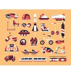 Transport - flat design icons set vector