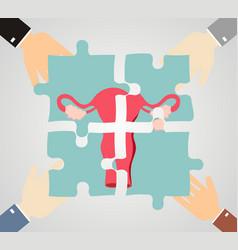 treatment of female uterus the uterus is composed vector image