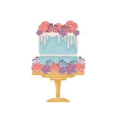 Two-tier blue cake with white glaze decorated vector