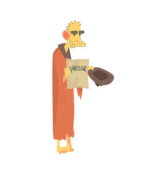 Unhappy homeless man character in ragged clothes vector