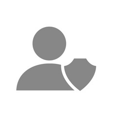 User profile with shield grey icon online account vector