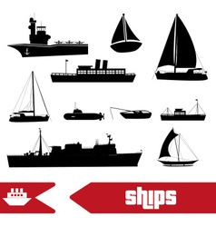Various transportation navy ships icons set eps10 vector