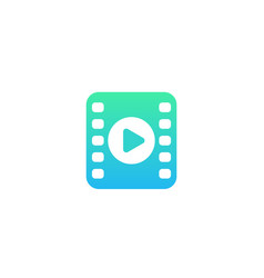 Video icon logo with play symbol and film strip vector