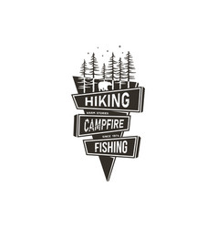 Vintage hand drawn travel badge design camping vector