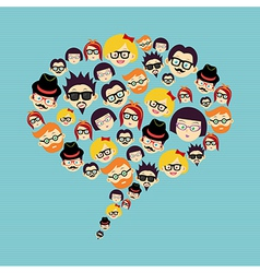 Vintage hipsters faces social bubble vector image