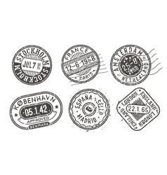 Visa stamps set retro postal stamps vector