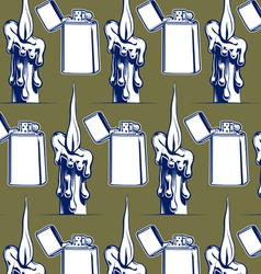 wax candle iron lighter background vector image