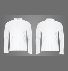 White polo shirt long sleeve vector