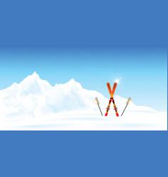winter ski resort against winter landscape vector image